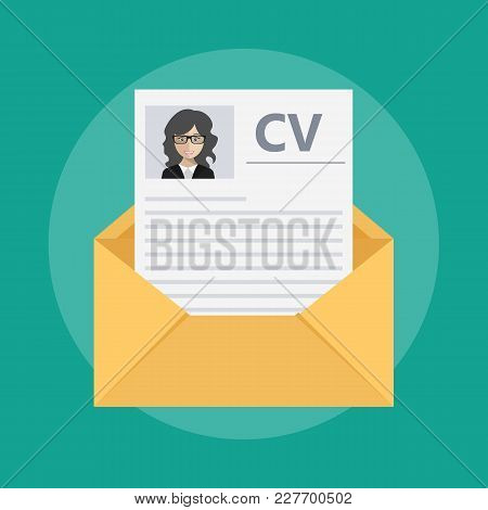 Envelope With A Curriculum Vitae. Flat Vector Illustration