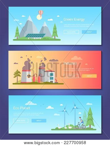 Green Energy - Set Of Modern Flat Design Style Vector Illustrations With Place For Your Text. Three