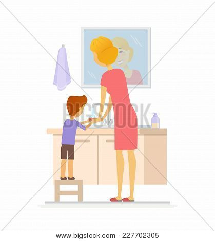 Boy Washing His Hands - Cartoon People Character Isolated Illustration On White Background. An Image