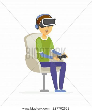 Boy Wearing Virtual Reality Glasses - Cartoon People Character Isolated Illustration On White Backgr