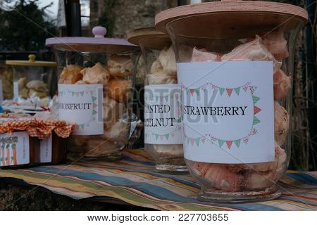 Homemade Meringues For Sale In Small Village Of Lacock, England. Buyers Are Asked To Pay For Product