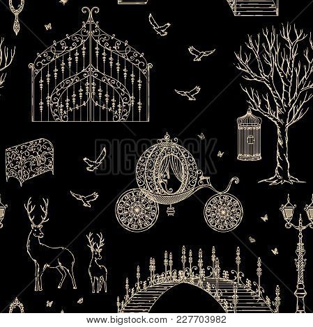 Enchanted Forest. Seamless Pattern With Vintage Gate, Lantern, Carriage, Bridge, Tree, Chest, Cage,