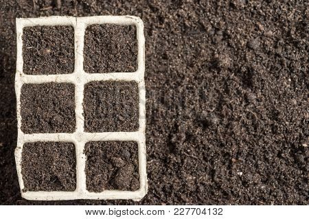 Potting Soil In Peat Pots Flat Surface. Spring Planting Work Concept
