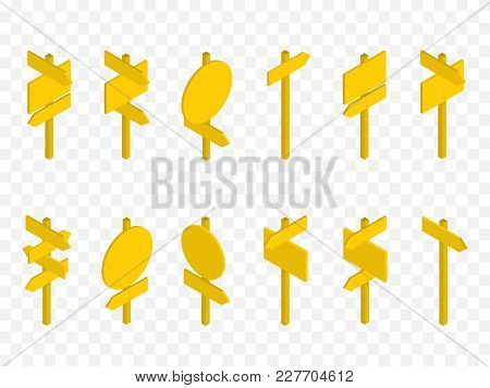 Set Of Isometric Road Signs Isolated On Checkered Background. Vector Illustration.