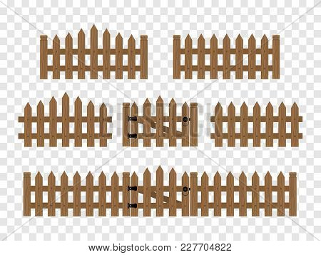 Wooden Fences And Gates Isolated In Flat Style. Vector Illustration