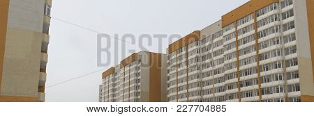 Modern Multistory Apartment Buildings. Building Fragment. Apartment Block. Residential Building. Con