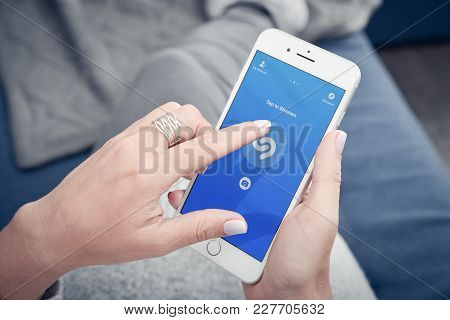 Woman Hands Using Shazam Application