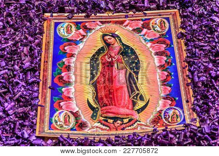 Antigua, Guatemala -  April 13, 2017: Detail Of Mary Mother Of Jesus Christ On Holy Thursday Process