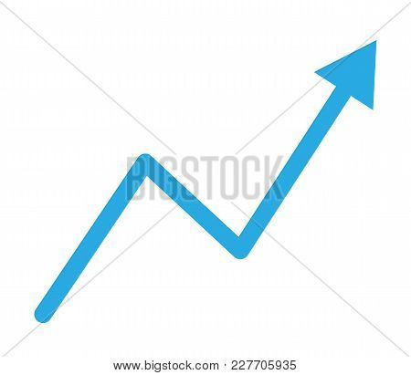 Trend Up Graph Icon In Trendy Flat Style Isolated On White Background. Lat Style. Trend Up Graph Sig