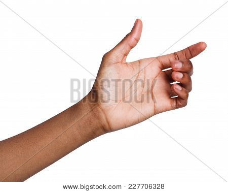 Black Hand With Virtual Smartphone Isolated On White Background. African-american Woman Holding Card