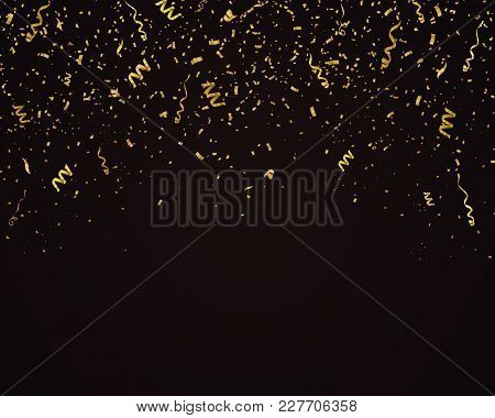 Confetti Vector Background. Luxury Festive Illustration. Fallen Gold Ribbons Isolated On Black.
