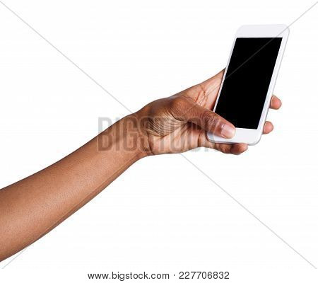 African-american Woman Taking Picture Using Smartphone. Black Hand Holding Mobile And Shooting Photo