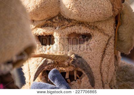 Pernik, Bulgaria - January 26, 2018: Close Up Of Kuker Dancers In Huge Fur Scary Mask Who Looks At C