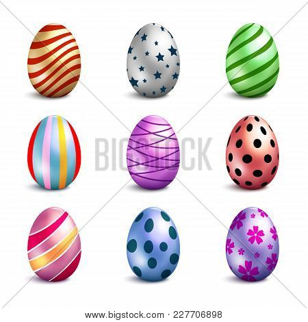 Set Of Color Easter Eggs Isolated On White Background, Happy Easter Day Vector Clip Art For Your Des
