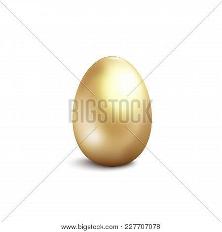 Golden Egg Isolated On White Background. Vector Illustration