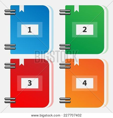 Set Of Color Folders For Files. Icons Of Multi-colored Folders. Vector Numbered Folders.