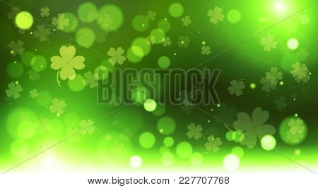 Abstract Bokeh Blur Template Clovers Background, Green Happy Saint Patrick Day Concept Vector Illust