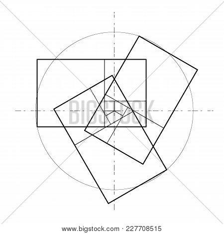 Minimalistic Style Design. Golden Ratio. Geometric Shapes. Circles In Golden Proportion. Futuristic