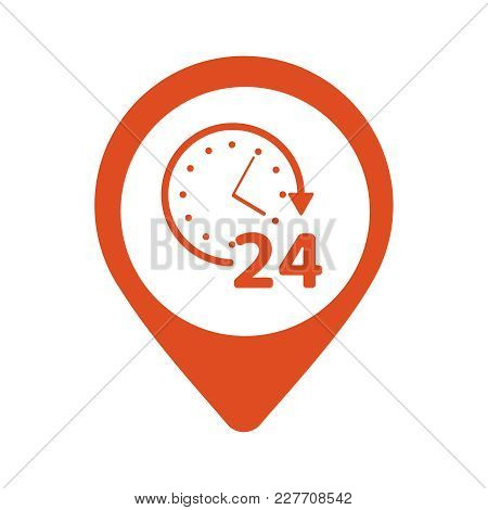 Open Around The Clock Or 24 Hours A Day And 7 Days A Week Symbol On Map Pin Icon Isolated On White B