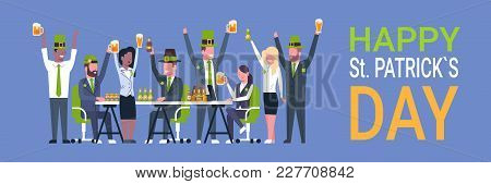 Irish Pub Or Bar On St. Patricks Day Holiday With People Wearing Green Clothes And Drinking Beer Cel