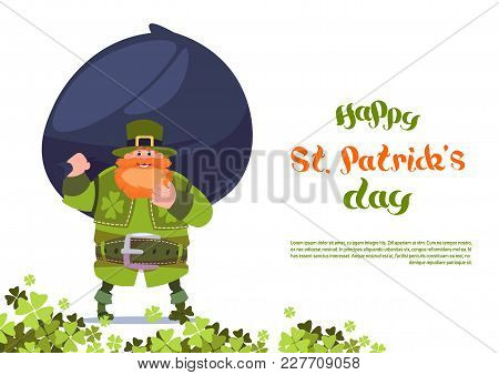 Happy St. Patricks Day Greeting Card Template Background With Leprechaun Holding Big Bag Of Coins Fl