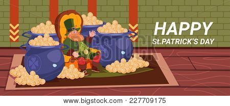 Happy St. Patricks Day Decoration Card With Leprechaun Sitting Between Pots With Golden Coins Horizo