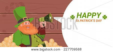 Leprechaun Man Holding Megaphone, Happy St. Patricks Day Holiday Template Background Flat Vector Ill