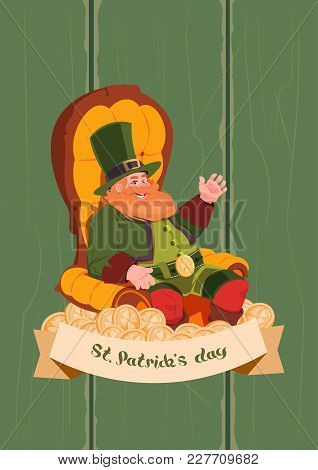 Leprechaun On Happy St. Patricks Day Holiday Poster Or Greeting Card Background Flat Vector Illustra