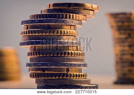 Pile Of Euro Cents. Euro Money. Currency Of The European Union.