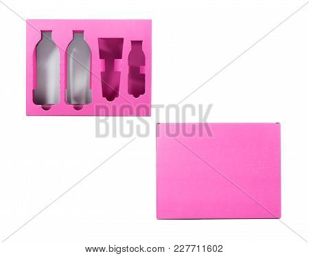 Package Of Pink  Font And Back Cardboard Box On Isolated White.