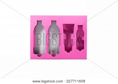 Package Of Pink Cardboard Box On Isolated White.