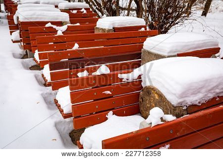Red Wooden Benches Covered With Snow. Series Of Benches In A Winter Park.