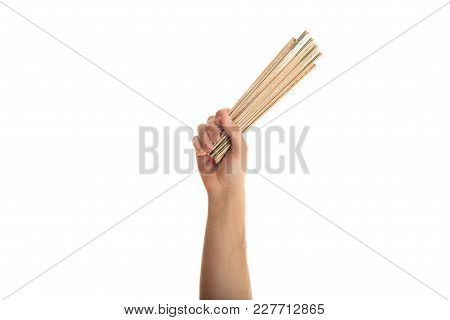 Hand Holding A Wooden Meter On White Background