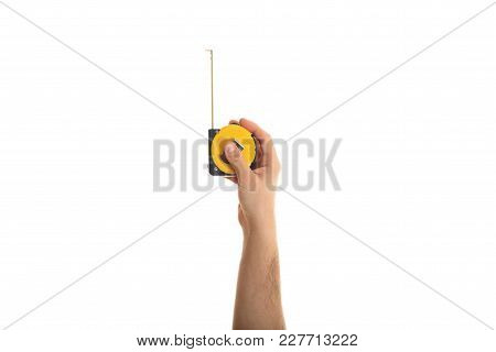 Hand Holding A Measuring Tape On White Background