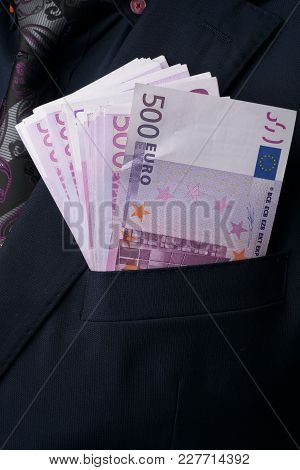 In Men's Suits 500 Euro. Bribe And Corruption With Euro Banknotes.