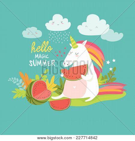 Cute Unicorn With Watermelon. Hello Summer. Vector Ilustration