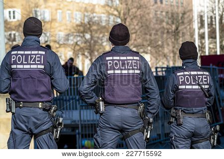 Federal Police Officer Protecting The City In Germany