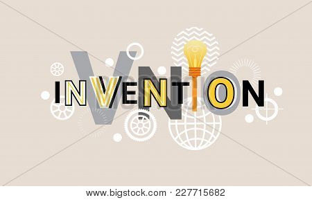 Invention Creative Project Development Web Banner Abstract Template Background Vector Illustration