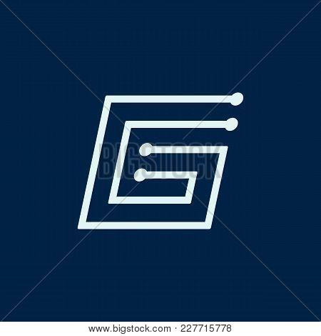 Letter G. Font Maze Italic, Vector Geometric Alphabet On Dark Background.