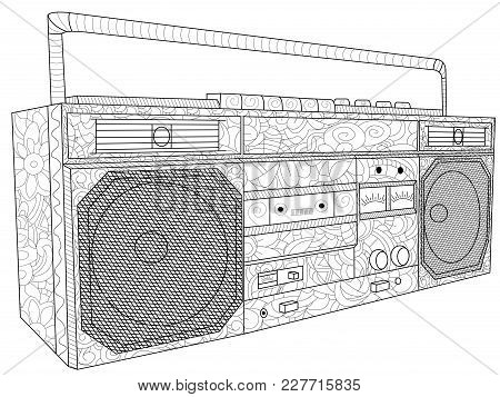 Tape Deck Or Tape Machine Antistress Coloring Electronic Equipment. Musical Object. Tape Recorder Fo