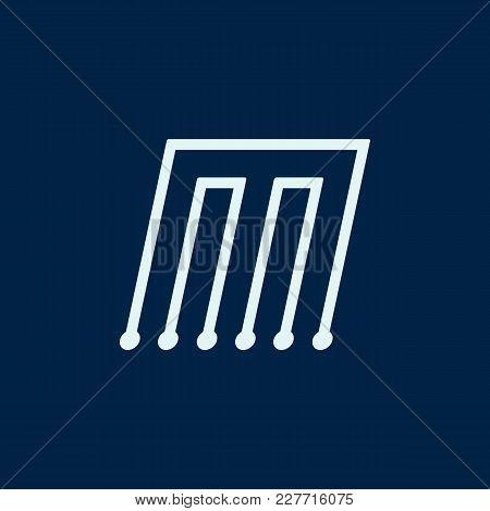 Letter M. Font Maze Italic, Vector Geometric Alphabet On Dark Background.
