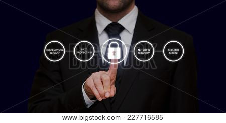 General Data Protection Regulation (gdpr) With Businessman Pressing The Padlock Button