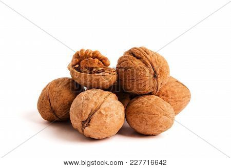 Walnut Isolated On White Background. With Clipping Path