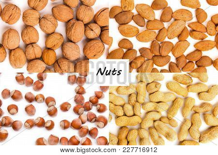 Healthy Organic Food Concept. Nuts Close Up. Top View