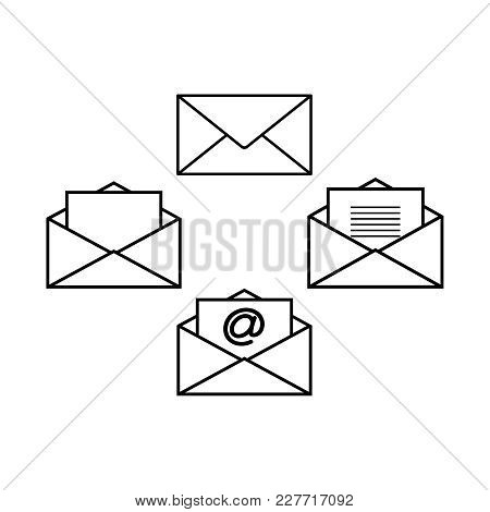 Set Of Envelopes Icons On The White Background