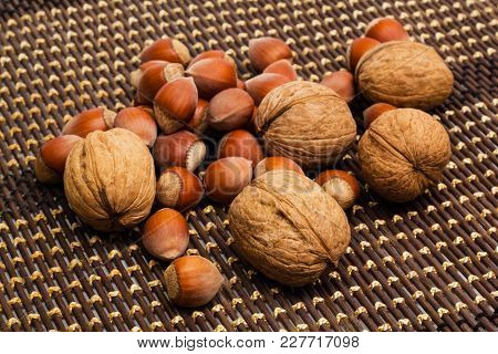 Group Of Walnuts And Hazelnuts. Healthy Food Concept.