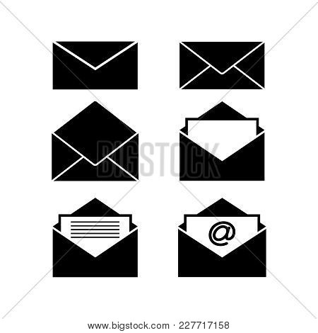 Set Of Envelopes Black Icons On White Background