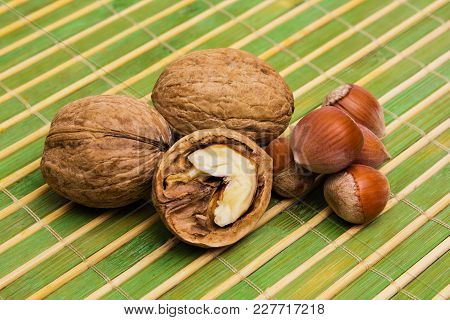 Group Of Walnuts, Hazelnuts. Healthy Food Concept.