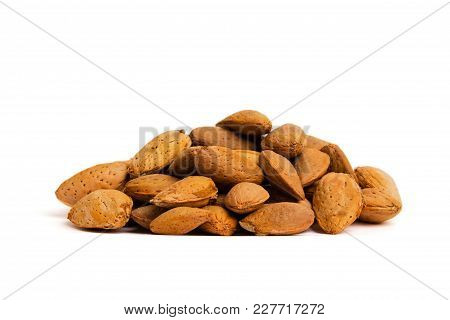 Macro View Of Shelled Almond. Almonds In Their Shells.