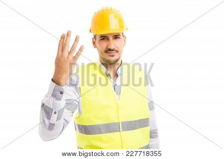 Builder Or Constructor Showing Number Four.